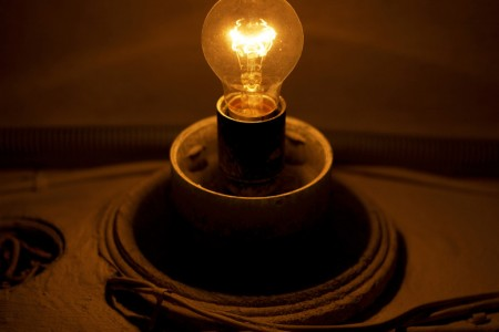 retro-styled light bulb with wire